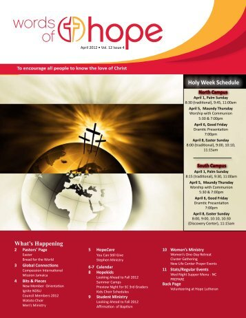 What's Happening Holy Week Schedule - Hope Lutheran Church