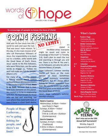 People of Hope Lutheran… we're going fishing for people, and ...