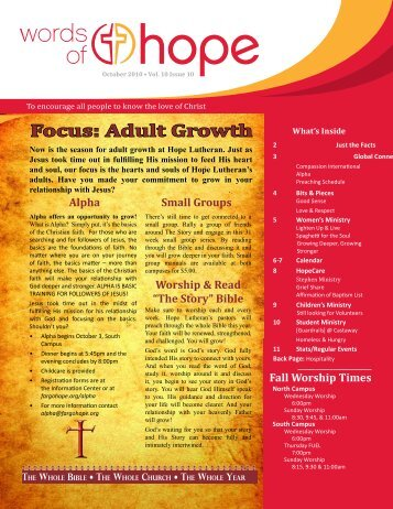 Focus: Adult Growth - Hope Lutheran Church