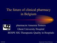 Clinical pharmacy in Belgium - UCL