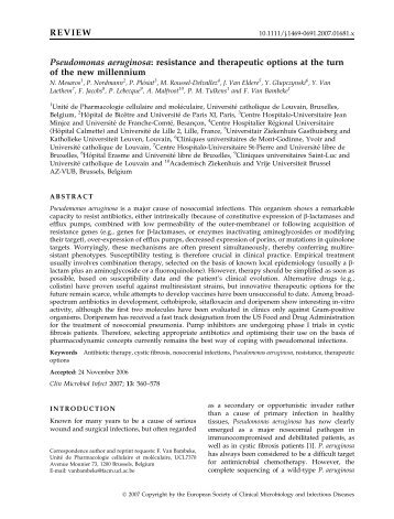 REVIEW Pseudomonas aeruginosa: resistance and ... - UCL