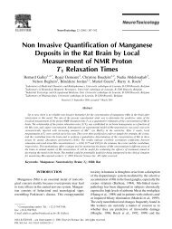 Non Invasive Quanti®cation of Manganese Deposits in the Rat Brain ...