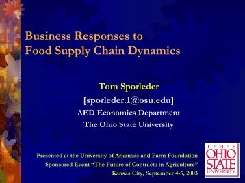 Business Responses to Food Supply Chain ... - Farm Foundation