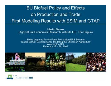 EU Biofuel Policy and Effects on Production and ... - Farm Foundation