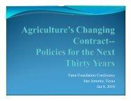Farm Foundation Conference San Antonio, Texas Jan 8, 2010