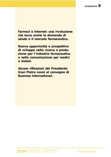 "8 . "" E-commerce e mercato del farmaco in Italia "" - Farmindustria"