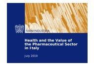 Health and the Value of the Pharmaceutical Sector ... - Farmindustria