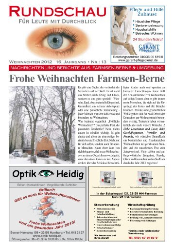 Frohe Weihnachten Farmsen-Berne - Rundschau – Für Leute mit ...