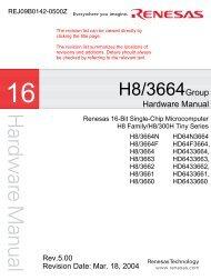 H8/3664 Group Hardware Manual - Pond Electronics