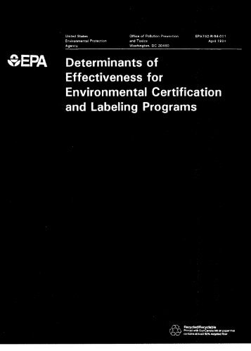 Determinants of Effectiveness for Environmental Certification and ...