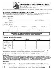technical requirements form: lowell hall - Harvard University