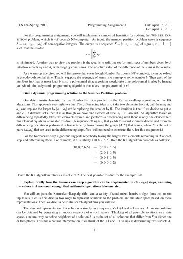 CS124–Spring, 2013 Programming Assignment 3 Out: April 16 ...