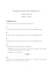 Computer Science 124: Problem Set 1