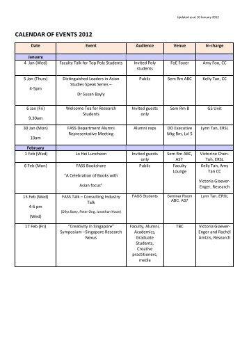 CALENDAR OF EVENTS 2012