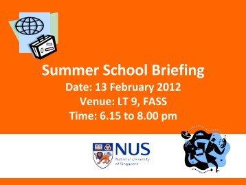 Summer School Briefing - Faculty of Arts and Social Sciences