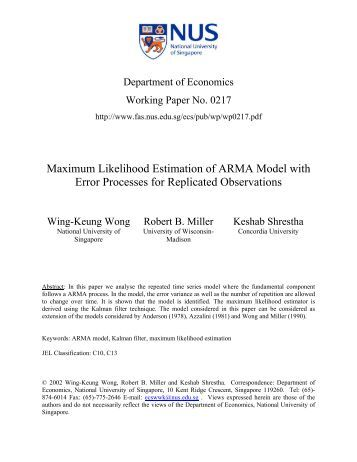 Arma model parameter estimation