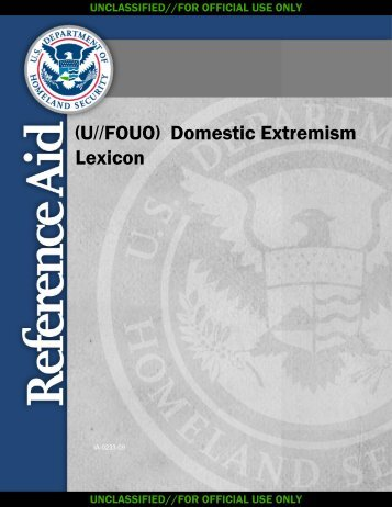 Domestic Extremism Lexicon - Constitution Society