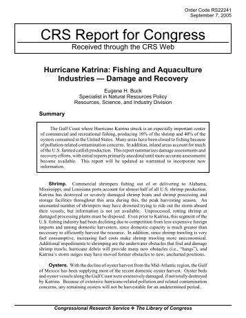 Hurricane Katrina: Fishing and Aquaculture Industries Damage and ...