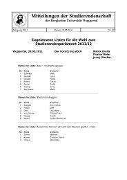 Zugelassene Listen für die Wahl zum Studierendenparlament 2011/12