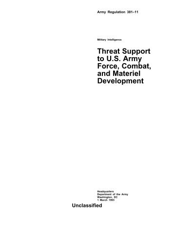 Threat Support to US Army Force, Combat, and Materiel Development