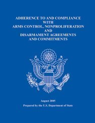 Adherence to and Compliance with Arms Control, Nonproliferation ...