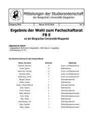 Ergebnis der Wahl zum Fachschaftsrat FB E an der Bergischen ...