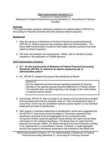 Staff Implementation Guidance 31.1 - Federal Accounting Standards ...