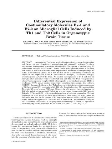 Differential Expression of Costimulatory Molecules B7-1 and B7-2 ...