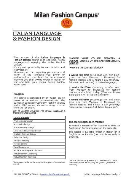 Italian Language Fashion Design Fashion School