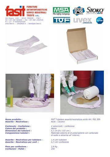 Nome prodotto : PIG® Tubolare assorbi/neutralizza acido Art ... - Fasit