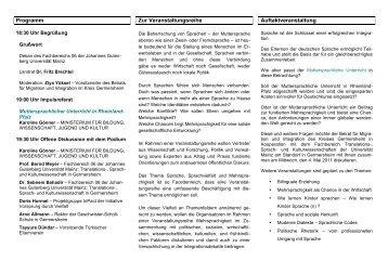 Muttersprachlicher Unterricht - Fachbereich Translations-, Sprach ...