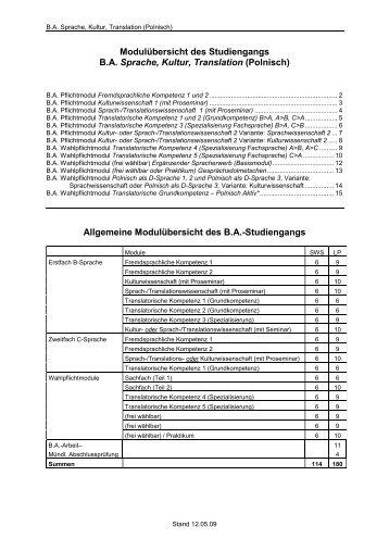 Polnisch - Fachbereich Translations-, Sprach- und Kulturwissenschaft