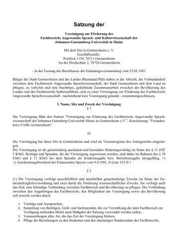 Satzung der - Fachbereich Translations-, Sprach- und ...