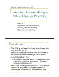 From Web Content Mining to Natural Language Processing