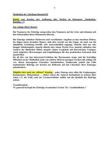 0 Mediothek der Abteilung Russisch/SI Kartei zum Katalog (der ...