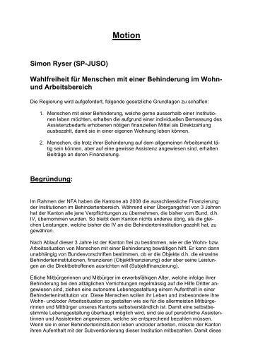 BE Motion Ryser: Wahlfreiheit (3/2007)