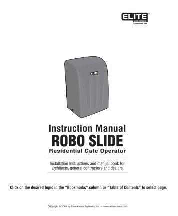 Elite RoboSlide Manual - Gate Openers
