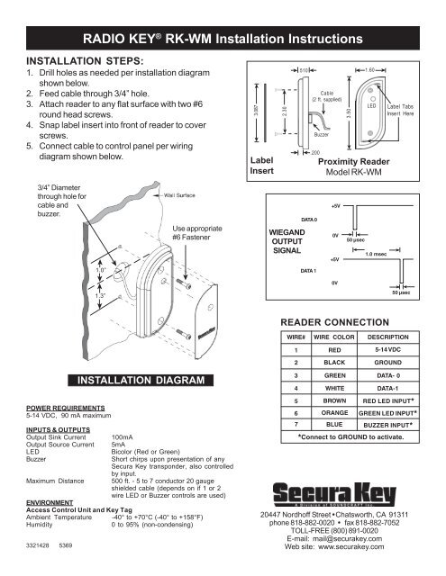 securakey rk wm manual fast access security corp Un iMac Washer Wiring Diagram