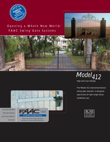 FAAC 412 Specs - Fast Access Security Corp.