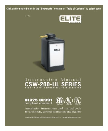 Elite CSW200 Manual - Fast Access Security Corp.