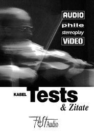 Kabel-Tests und Zitate aus Fachzeitschriften - FAST Audio