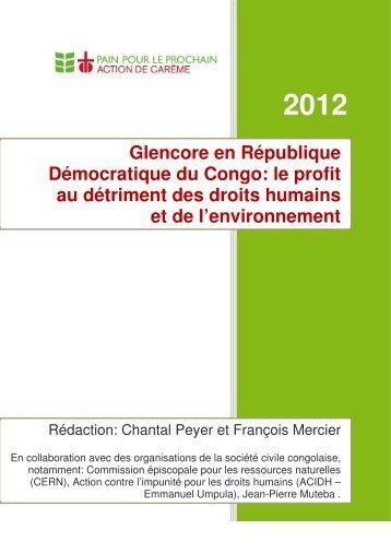 Glencore en République Démocratique du Congo - Fastenopfer