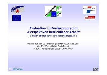 """Evaluation im Förderprogramm """"Perspektiven betrieblicher Arbeit"""""""