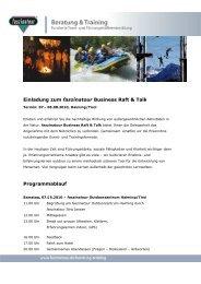 Einladung zum faszinatour Business Raft & Talk Programmablauf
