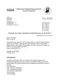 13. ordentliches Plenum (22. März 2011) - Asta der Bergischen ...