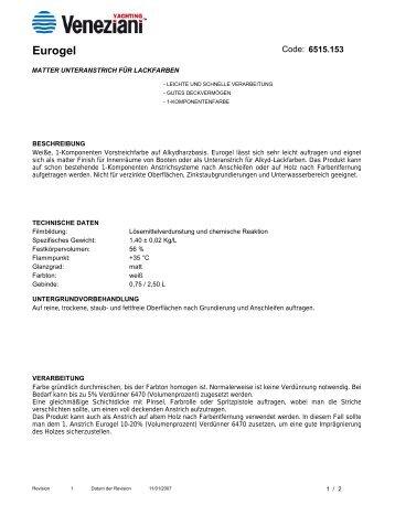 Technisches Merkblatt von Eurogel weiß - Farbenhaus Metzler ...