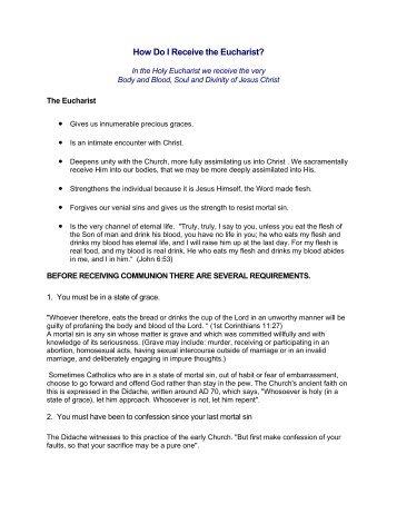 How Do I Receive the Eucharist?
