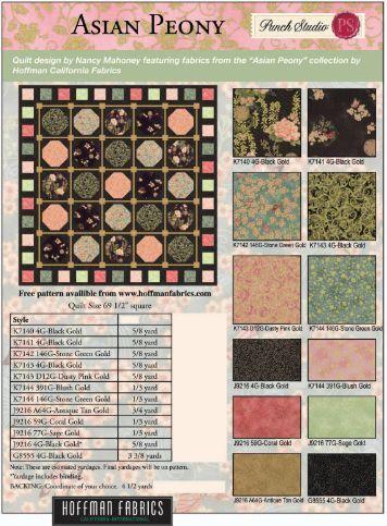 Asian Peony quilt pattern - Hoffman California Fabrics