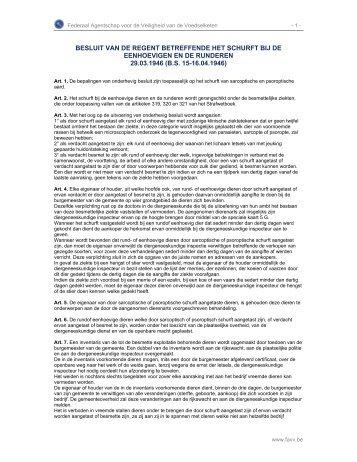 BESLUIT VAN DE REGENT BETREFFENDE HET SCHURFT ... - Favv