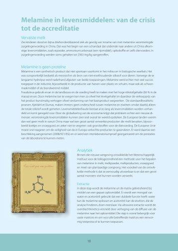 Melamine in levensmiddelen: van de crisis tot de accreditatie - Favv